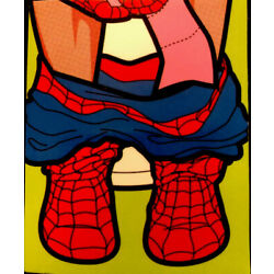 Superman Sticker 2 1/4 X 2 3/4  Superman With His Pants Down