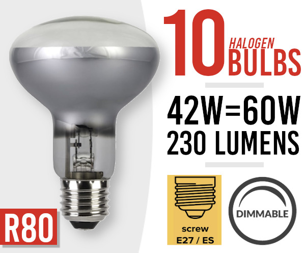 10x  Eco Dimmable Halogen Screw Fit Spot Light Bulb R80 E27 /ES 42w=60watt