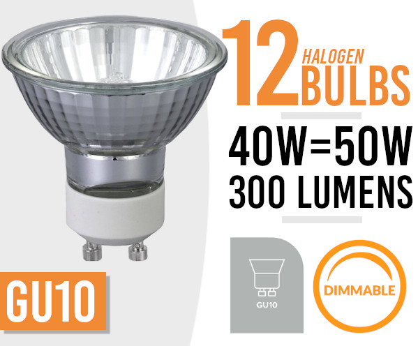 12x  Dimmable HALOGEN Downlighter LAMP LIGHT BULBS GU10 50W MAINS 240V