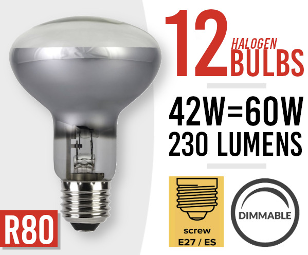 12x  Dimmable Halogen Screw Fit Spot Light Bulb R80 E27 /ES 42w=60watt