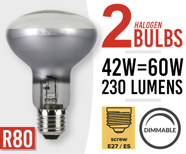 2x Eco Dimmable Halogen Screw Fit Spot Light Bulb R80 E27 /ES 42w=60watt