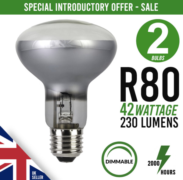 2x Eco Dimmable Screw Fit Halogen Spot Light Bulb R80 E27 ES 60 watt