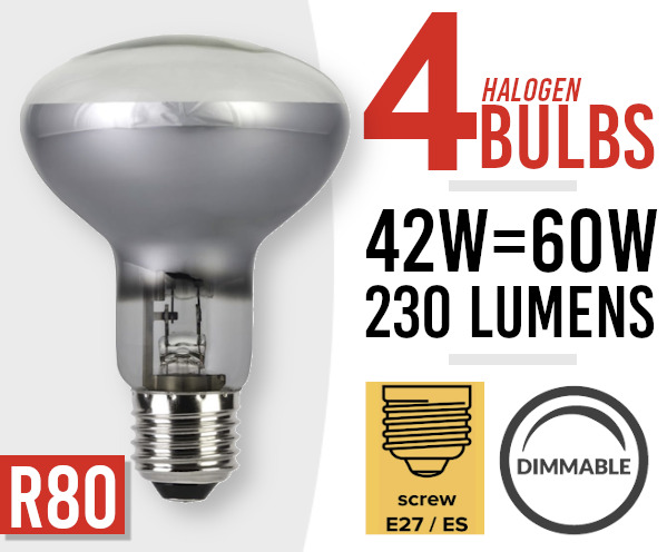 4x Eco Dimmable  60 Watt Screw Fit  Halogen Spot Light Lamp Bulb R80 E27 /ES