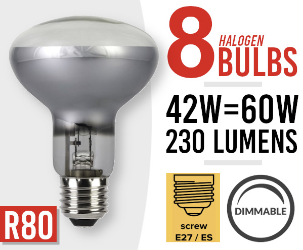 8x Eco Dimmable  42w/60w Halogen Spot Light Lamp Bulb R80 E27