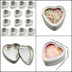 Heart Metal Mini Boxes Clear Lid for Candle Making Candies Gifts Jewelery 14 Pcs