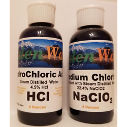 Water Purification & Disinfectant With Chlorite Solution NaClo2 + HCl 4oz each