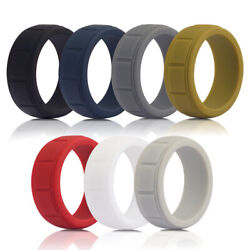 Men's Silicone Wedding Ring Working Sports Rubber Band 8mm Size 8 9 10 11 12 13