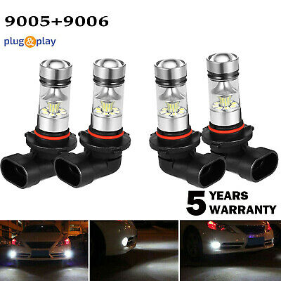 ISINCER 9005+9006 LED Hi-Low Beam Headlight Fog Lamp 6000K White 200W 6400LM Kit
