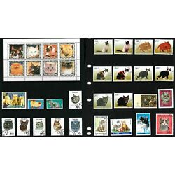 Kyпить 200 Diff Cats (Feline, Domestic, House, Pets, Animals) Used Stamps  40 Countries на еВаy.соm