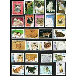 Kyпить 43 Diff Cats (Feline, Domestic, House, Pets, Animals) Used Stamps   13 Countries на еВаy.соm