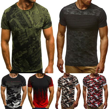 img-Mens Camouflage Gym Muscle T-shirt Summer Camo Casual Short Sleeve Tee Shirt Top