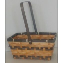 Rect Bamboo Stained Swing Handle Basket - Large 10 in.