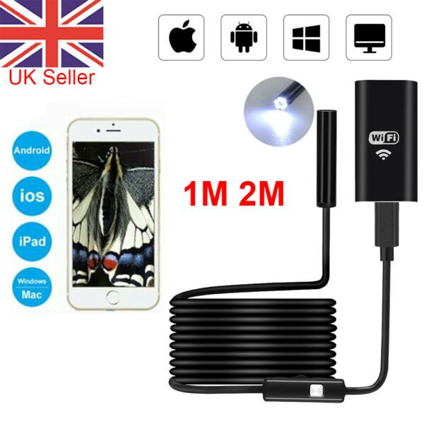 1M 2M WiFi USB Endoscope Borescope Snake Inspection Camera for iPhone Android UK