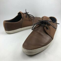 Aldo Men s Size 9.5 Light Brown Faux-Leather Lace-up Sneakers / Casual Shoes
