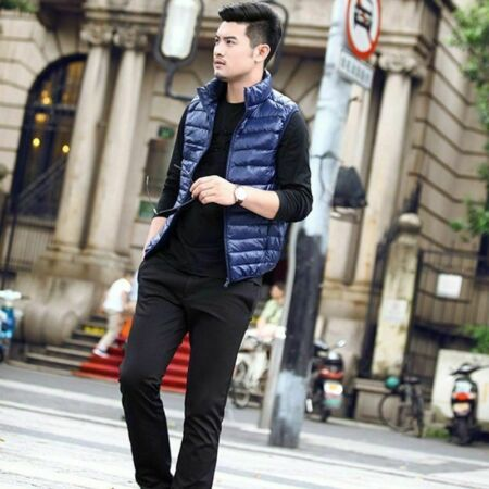 img-TOP Mens Duck Down Padded Quilted Gilet Vest Bubble Sleeveless Jacket Waistcoat