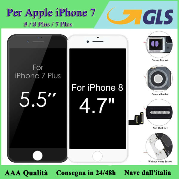 San Mauro Torinese, LCD PER IPHONE 8 8 PLUS 7 7+ TOUCH SCREEN SCHERMO DIGITIZER AAA