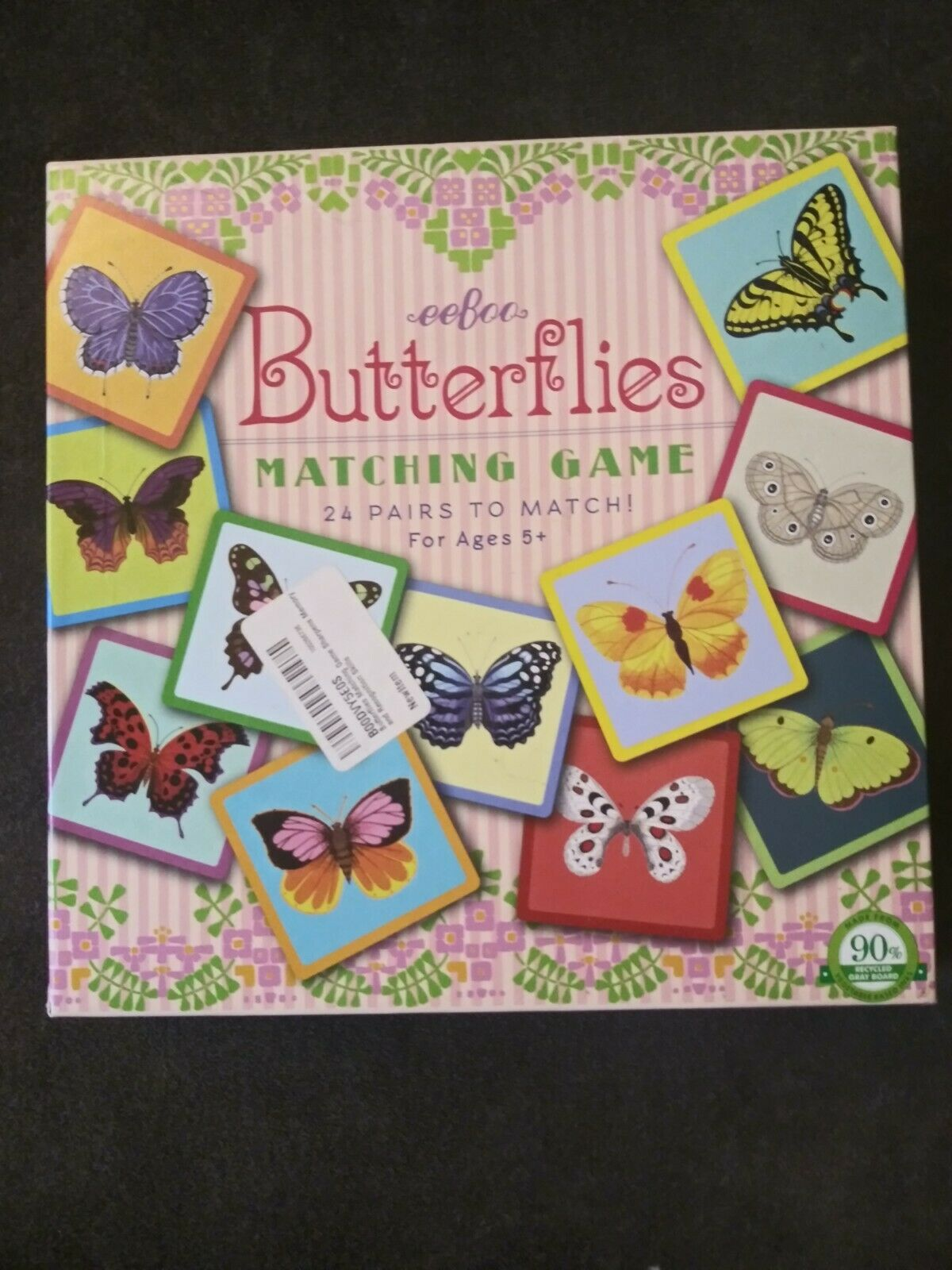 eeBoo Butterflies Square Matching Game