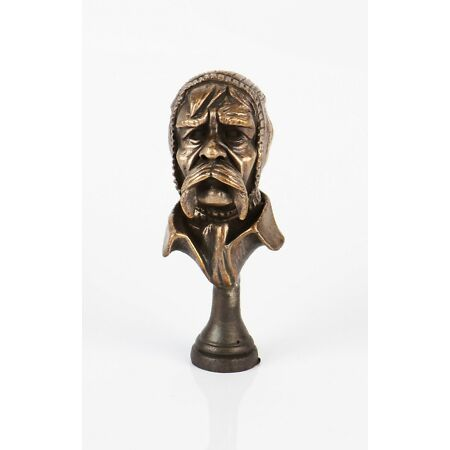 img-WW1 Old Bill (Bairnsfather) with Balaclava Trench Art Style Bronze Pipe Tamper