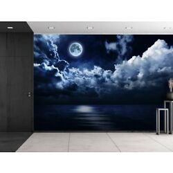Digital Art Wall Decals Full Moon Sea of Clouds Mural Vinyl Wall Decals 2 Sizes