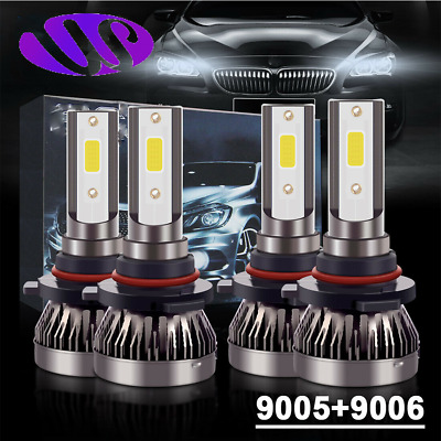 9005+9006 Combo LED Headlight Kits 120W High/Low Beam Bulbs 6000K White