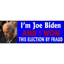 Kyпить SLEEPY JOE BUMPER STICKER, WON ELECTION BY FRAUD Bumper Sticker 8.7