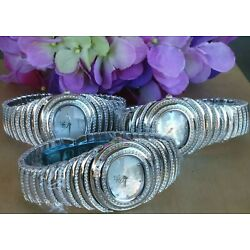 Adee Kaye  Austrian Crystals Mother-of-Pearl Oval Dial Bracelet Watch 38mm