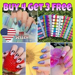 Color Nail Polish Strips Buy 04 Get 03 FREE Nail Stickers Wraps Manicure Glitter