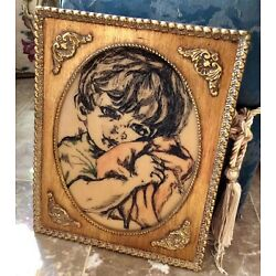 Kyпить Vintage 'Boy' Engraving w/Ornate Wood Picture Frame, Signed Roberta на еВаy.соm
