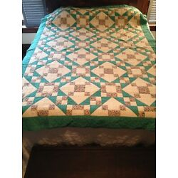 Kyпить Vintage Hand Quilted And Pieced Quilt 86