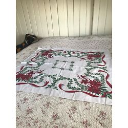 Kyпить Vintage Christmas Tablecloth Cotton Retro Holly Poinsettias Bright Good Cotton на еВаy.соm