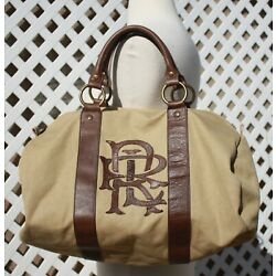Kyпить Ralph Lauren RUGBY Camel Canvas Monogram Brown Leather Duffle Bag Weekender  на еВаy.соm