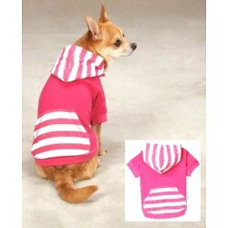 Dog Hoodie Pullover Pink Raspberry Stripe Hoody Small only 12'' Length 13'' Chest