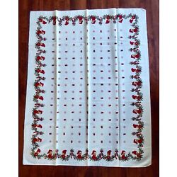 Kyпить Vintage Scandi Christmas Tablecloth Knee Hugger Elves Linen/Cotton 50''x 64