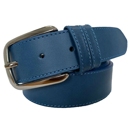 img-MENS ITALIAN CALF LEATHER BELT 35MM BLUE GUN METAL BUCKLE