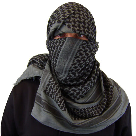 img-MILITARY - ARMY ISSUE O/D SHEMAGH SCARF ARAB/SAS/RETRO GREY & BLACK 100 COTTON