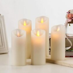 Kyпить BRAZING CANDLES -5 pc set of LED Flameless Ivory Candles w/ Remote Control Timer на еВаy.соm