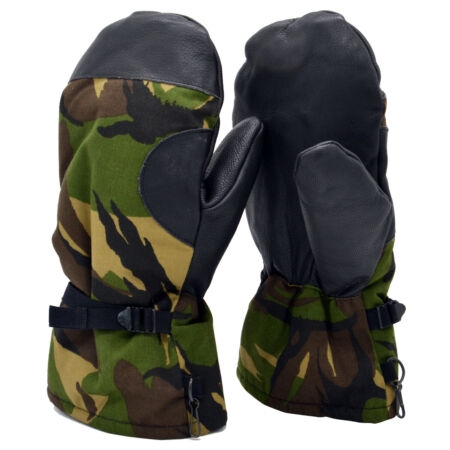 img-Winter Gloves Genuine Dutch Army Leather DPM Camo Extreme Cold Weather Woodland