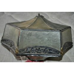 Kyпить .ANTIQUE Victorian RARE hexagonal LAMP SHADE w/ frosted & patterned Glass 10 x 7 на еВаy.соm