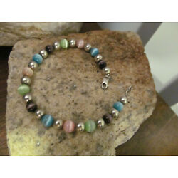 Kyпить Vintage 925 Sterling silver Mix color Glass Cats eye bead Beaded Bracelet 9.3g на еВаy.соm
