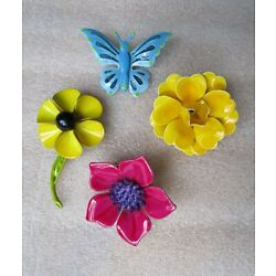 Kyпить VINTAGE LARGE FLOWER FLORAL BUTTERFLY ENAMEL BROOCH PIN LOT OF 4 на еВаy.соm