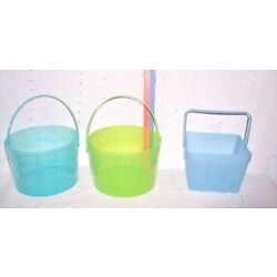 BASKETS PLACTIC ROUND GREEN OR SQUARE BLUE=U CHOOSE EASTER-DECORATION-ORGANIZER