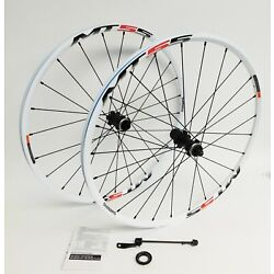 "Kyпить Shimano MT55 26"" MTB Wheelset 24 Spoke 15mm TA QR Rear CL Disc Brake White 559 на еВаy.соm"