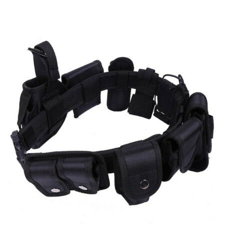 img-Police Guard Tactical Buckles Black 9 Pouches Utility Security System