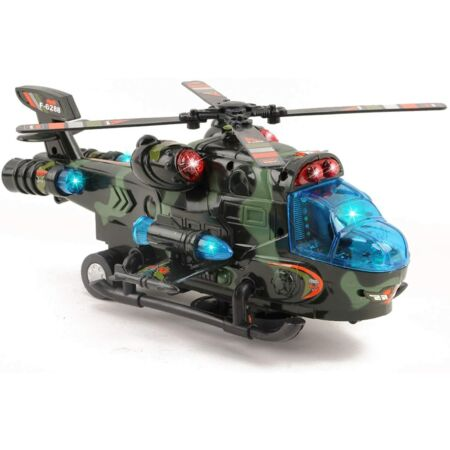 img-Military Helicopter with Lights Sounds Bump and Go Self Riding Army Chopper UK
