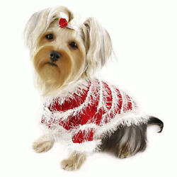 Klippo Pet Beautiful Furry & Sparkling Trims Dog Sweaters - Red/White