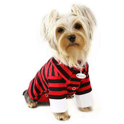 Klippo Pet Red and Black Striped Collar Polo Double Sleeves Dog Shirts