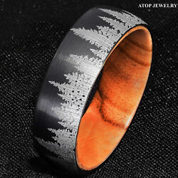 8mm Tungsten Black Forest Tree Setting with Olive Wood Men Wedding Band Ring