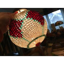 """Kyпить VINTAGE CZECH Glass Beaded Lampshade Cover over a Round Globe~ Marked """"RUTTY"""" на еВаy.соm"""