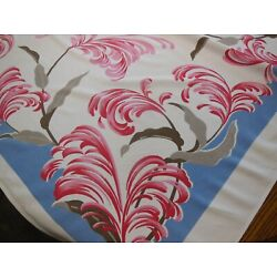 Kyпить Pink Feathers Vintage Tablecloth Taupe Leaves Brown Stems на еВаy.соm