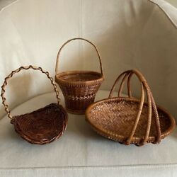 Lot of Mini Boho Chic Wicker Baskets and Trays S/3